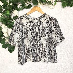 Equipment - Silk Snakeskin Print Cropped Shirt Top